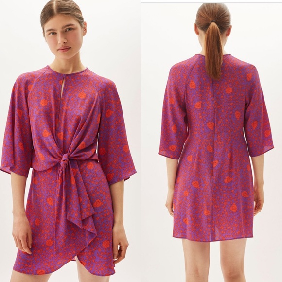 Topshop Dresses & Skirts - Topshop rose print kimono sleeve mini dress sz 4